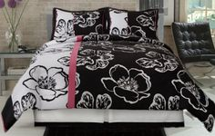 (Click to order - $86.99) Twiggy Modern Pink White Black Big Floral Comforter Set Twin From PANAM