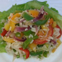 Lecsós-rizses saláta