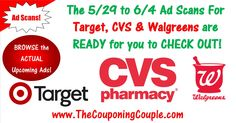 Have you checked out the Upcoming 5/29 to 6/4 Ad Scans for Target, CVS & Walgreens? You can BROWSE every single Page of each of these upcoming Ads NOW! Click the Picture below to get a Link to the Target, CVS & Walgreens 5/29 to 6/4/16 Ad Scans ► http://www.thecouponingcouple.com/5-29-ad-scans-ready-now/  Use the SHARE button below the Picture to SHARE these Ad Previews with your Family and Friends!  #Coupons #Couponing #CouponCommunity  Visit us at http://www.theco