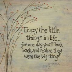 Enjoy the little things in life for one day you'll look back and realize they were big things.