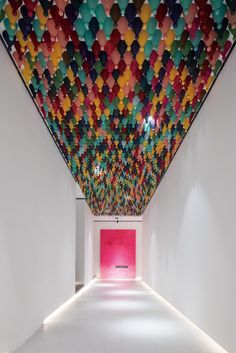 Chinese Checkers pieces hanging from a corridor ceiling represent the diversity of guests who stay at the Wheat Youth Arts Hotel in China by X+Living. Interior Design Magazine, Ceiling Art, Ceiling Design, Restaurant Brasserie, Hotel Corridor, Ceiling Installation, Hotel Interiors, Hangzhou, Dezeen