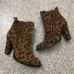 Zara Shoes | Suedezara Suede Leopard Booties | Poshmark Zara Shoes, Band Tees, Soft Suede, Zara Black, Suede Booties, Blossoms, Everyday Fashion, Black And Brown, Heeled Boots