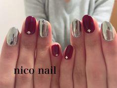 浜松市 中区 自宅ネイルサロン nico nail ニコネイル:大人気のボルドーとミラーネイル