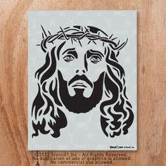 Jesus Stencil Reusable Craft & DIY Stencils by Stencil Diy, Stencil Designs, Lion Stencil, Jesus Drawings, Jesus Art, Wood Burning Patterns, How To Make Tshirts, Scroll Saw Patterns, Jesus Cristo