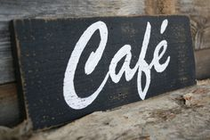 Wood Cafe, Rustic Signs, Wood Signs, Kitchen Signs, Kitchen Decor, Eat Sign, Restaurant Signs, Cafe Design, How To Distress Wood