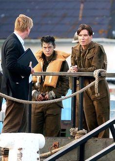 Christopher Nolan Harry Styles and Cillian Murphy on the set of Dunkirk.