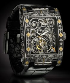 """Artya Arabesque Tourbillon Watch - """"Yvan Arpa's Artya watches once again debuts a surprise piece unique model at the upper end of what we might expect from the boutique Geneva-based Swiss """"art watch"""" maker. Rather than deforming a watch case with high voltage electricity or decorating a dial with spiders, insect wings, or human blood, we get the Artya Arabesque Tourbillon that is decorated with hand-engraving. What type of hand engraving? Arabesque engraving... and they threw in a tourbillon..."""""""
