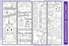 Free Printable – Unicorn Bookmarks to Color Free Printable Bookmarks, Bookmark Template, Bookmark Craft, Bookmarks Kids, Printable Crafts, Bookmarks To Color, Crochet Bookmarks, Coloring Pages For Kids, Free Coloring
