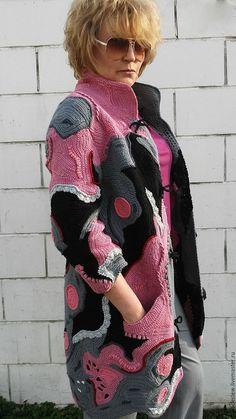 Верхняя одежда ручной работы. Вязаное крючком летнее пальто/кардиган в стиле фриформ, пэчворк, бохо. ChudoClubok. Интернет-магазин Ярмарка Мастеров.