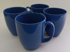 CORELLE Stoneware Coffee MUGS - Tea Cups - BLUE - Set of 4 #Corelle