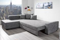 Design Ecksofa APARTMENT Strukturstoff graphit Federkern Sofa Schlaffunktion