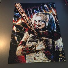 Harley Quinn - Suicide Squad perler bead art by perlerbeadsofsweden Melty Bead Patterns, Pearler Bead Patterns, Perler Patterns, Pearler Beads, Beading Patterns, Beaded Cross Stitch, Cross Stitch Patterns, Pixel Art, Lego Mosaic
