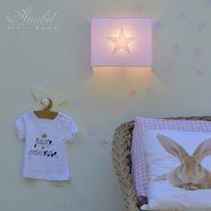 Lámpara infantil de pared estrella, aplique, applique murale étoile, start wall lamp, sconce Rosa, ESTRELLA Blanco
