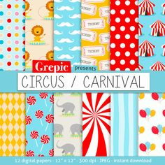 "Digital paper circus: ""CIRCUS CARNIVAL"" with circus patterns and carnival textures for scrapbooking, invites, cards"