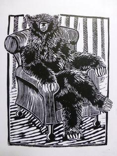 Bear in a Chair Linocut