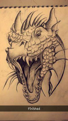 Dragon Sketch - My most beautiful tattoo list Cool Art Drawings, Realistic Drawings, Art Drawings Sketches, Animal Drawings, Realistic Dragon Drawing, Medusa Drawing, Drawing Faces, Art Illustrations, Pencil Drawings