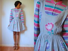 Vtg Pastel Floral & Striped Pink Purple Grey LS by LuluTresors, $34.99