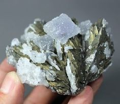 Cabinet Fluorite covered by Quartz microcrystal on Lollingite China CM422316