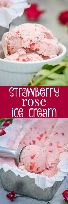 An easy no churn recipe, this Strawberry Rose Ice Cream features bright, ripe strawberries in creamy soft serve with a dusky floral hint of fresh roses. It sounds complex but it's surprisingly simple, to make and to savor. Shared by Where YoUth Rise Frozen Meals, Frozen Desserts, Summer Desserts, Delicious Desserts, Dessert Recipes, Awesome Desserts, Rose Ice Cream, Strawberry Roses, Strawberry Patch