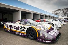 Le Mans Group C line up at the 73rd Goodwood Members Meeting, March 2015. Silk Cut Jaguar