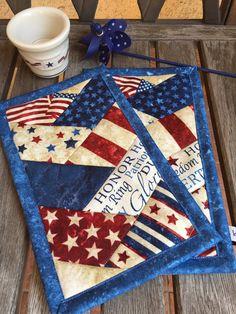 Blue Patriotic Mug Rug Set in deep red, white and navy patriotic prints candle mat snack mat