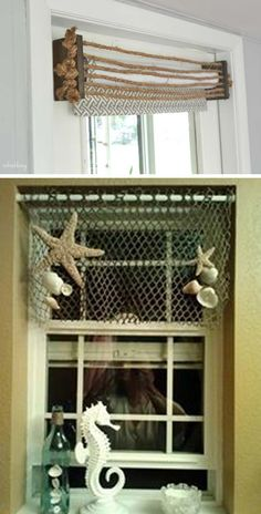 Maybe you have tired of one of your home's windows and want to give it a small makeover, then you can consider DIY valances. The great thing about DIY valances is that they make a huge impact although…More Bathroom Window Coverings, Valance Window Treatments, Kitchen Window Treatments, Bathroom Windows, Cheap Home Decor, Diy Home Decor, Cheap Beach Decor, Diy Curtains, Porch Valance