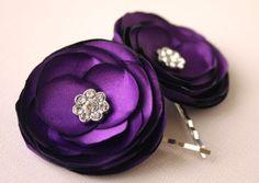 Flower girls?? Purple Hair Flower Wedding Accessories - Purple Flower Hair clips - Violet Flowers - Bridal Flower Hair Pins on Etsy, $14.00
