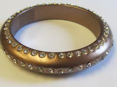 Vintage Plastic Rhinestone Bronze Bangle Bracelet by Lavendergems on Etsy