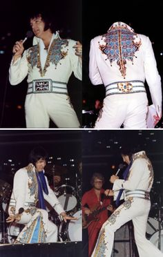 THE V-NECK BELT! This is ELVIS on stage in 1976 wearing the KING OF SPADES jumpsuit with the V-NECK belt.
