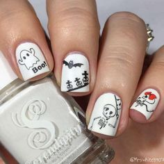 Halloween Mummy Nails Skeleton Nail Water Decals - Nail Design Done By Themermaidpolish Halloween Mummy Nails Skeleton Nail Water Decals Use Trimclean Then Paint Your Nails With The Color You Want Cut Out The Pattern And Plunge It Into Water Pig Nail Art, Pig Nails, Cute Toe Nails, Pretty Nails, Cute Halloween Nails, Halloween Nail Designs, Halloween Nail Art, October Nails, Nail Water Decals