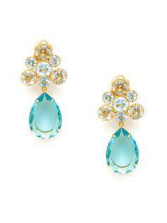 Bounkit Green Amethyst & Blue Quartz Drop Earrings