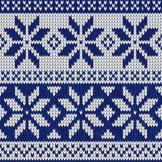 Рождество нордический бесшовных вязание иллюстрации в синем цвете Бесплатные векторы