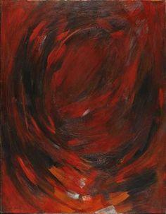 Adjugé 30 000 euros par Conan Hôtel d'Ainay à Lyon le 15 octobre 2015 : Hakki Anli (1906-1990) Abstraction en rouge, vers 1960 Huile sur toile. Signé en bas à gauche. 130 x 100 cm.