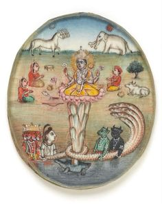 Lord Vishnu's avatar as Kurma, the tortoise 19th century. gouache on ivory, with pencil; 5.4 x 4.5 cm A roundel of Lord Vishnu's avatar as Kurma, the tortoise, during the churning of the ocean by the gods and demons to retrieve the nector of...
