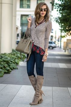 Plaid Hems on Fall Days - Kate Blue from For The Love of Fancy rocking our #LMae Mocha Plaid Sweater