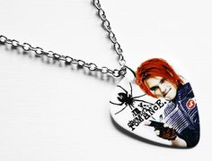 Silver necklace, 46cm long with a My Chemical Romance: Gerard Way guitar pick. The necklace will be sent in a nice little gift pouch so its ready to
