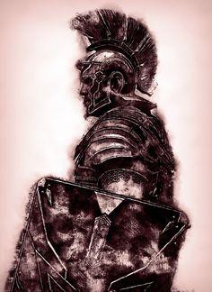 Portrait of a Roman Legionary Art Print by eriana Gladiator Tattoo, Spartan Tattoo, Knight Tattoo, Roman Centurion, Roman Warriors, Roman Legion, Greek Warrior, Warrior Tattoos, Roman Soldiers