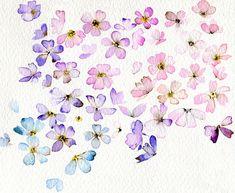 Watercolor art of Violet flowers Art Floral, Watercolour Painting, Painting & Drawing, Watercolours, Floral Watercolor, Watercolor Journal, Simple Watercolor Flowers, Pink Painting, Art Et Illustration
