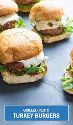 Grill up something healthy and delicious for your family this Memorial Day weekend! These juicy grilled turkey burgers are topped with fresh pesto, spicy arugula, and a creamy mozzarella cheese. Click to save this tasty dinner recipe, and serve it alongside your favorite summertime side dishes for the ultimate outdoor entertaining meal.
