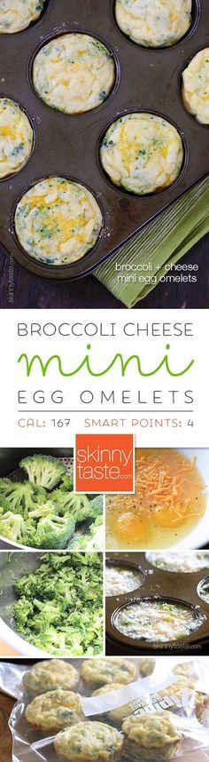Broccoli and Cheese Mini Egg Omelets – perfect to make ahead for the week. Freezer-friendly too! omelet Broccoli and Cheese Egg Muffins Skinny Recipes, Ww Recipes, Brunch Recipes, Low Carb Recipes, Breakfast Recipes, Cooking Recipes, Healthy Recipes, Egg Omelet, Bon Appetit