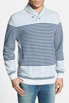 Levi's(R) Stripe French Terry Shawl Collar Sweatshirt