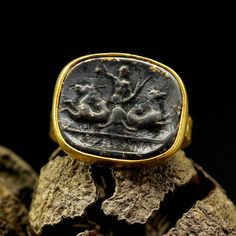 925k Hammered Sterling Silver Roman Art Oxidized Angel Coin Ring 24k Gold Vermeil