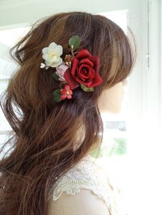 red hair flower, red rose hair clip, bridal hair accessories, floral hair clip, hair comb, flowers for hair, wedding headpiece, red flower by thehoneycomb on Etsy https://www.etsy.com/listing/241000404/red-hair-flower-red-rose-hair-clip