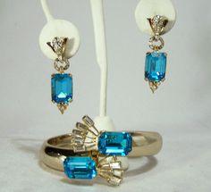Vintage Coro Blue Rhinestone Jewelry Set by GretelsTreasures
