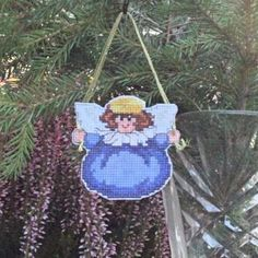 Cross Stitch Chubby Angel Cutout Christmas Ornament in Blue