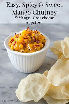 Easy Mango Chutney Appetizers - Recipe for a Gluten Free, Easy Mango Chutney and how to use them for a simple but delicious appetizer! Indian Appetizers, Cheese Appetizers, Yummy Appetizers, Appetizer Recipes, Party Appetizers, Chutneys, Sauce Recipes, Cooking Recipes, Cooking Tips