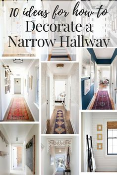 Inspiration and ideas on how to decorate your narrow hallways! This post rounds up 10 gorgeous hallways with great ideas for the lighting, flooring, and walls in your boring hall. decor ideas hallway Hallway Decorating Ideas for Your Narrow Hallway Hallway Flooring, Hallway Wall Decor, Hallway Walls, Hallway Lighting, Entryway Decor, Entryway Ideas, Hall Way Decor, Hallway Paint Colors, Entryway Stairs