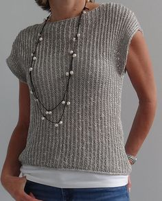 Free Knitting Pattern for Mimic Pullover - Shorter sleeved drop shoulder sweater that can be worn by itself or layered. S/M (L/XL). Desigend by Veronika Jobe. Pictured project by kirsten5macs