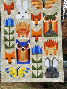 Fancy Forest by Elizabeth Hartman for Anna's baby Farm Animal Quilt, Elizabeth Hartman Quilts, Foundation Paper Piecing, Forest Friends, Forest Animals, Baby Blankets, Quilting Ideas, Coke, Baby Quilts