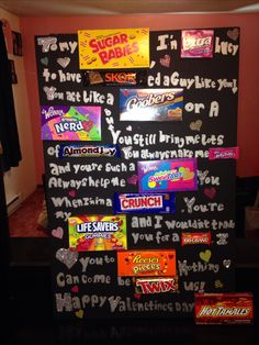 Valentines day candy board for your boyfriend